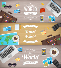 Travel banners. Travel and Tourism. Web banner. Objects on wooden background. Flat design. Vector