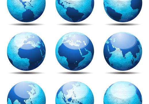 9 Blue 3D Globe Icons 1