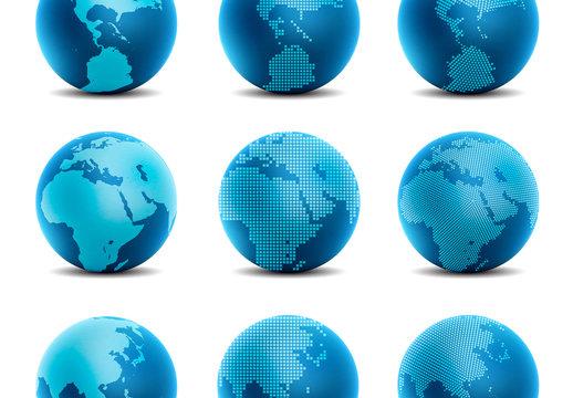 9 Blue 3D Globe Icons 2