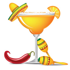 Margarita with sombrero, jalapeño, and maracas EPS 10 vector, grouped for easy editing. No open shapes or paths.