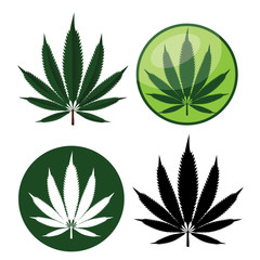 Illustration of a Hemp or marijuana Leaf icon collection. EPS 10 vector.