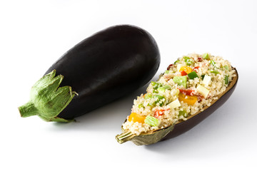 Stuffed eggplant with quinoa and vegetables, isolated on white background