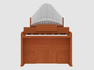 wooden harmonium 3D illustration