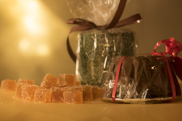 Small gifts and presents marmalade and chocolate cake