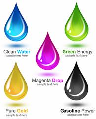 Set of five multicolor drops
