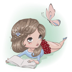 cute cartoon girl with butterfly