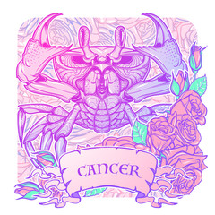 Zodiac sign - Cancer. Accurate symmetrical drawing of the beach crab with a frame of roses. Concept art for tattoo, horoscope. Pastel colors. Linear drawing itolated on texture background