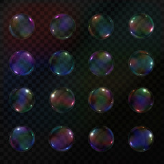 Vector collection of isolated realistic soap bubbles on the transparent background.