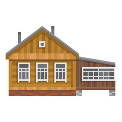 Old Russian country house. Vector flat.