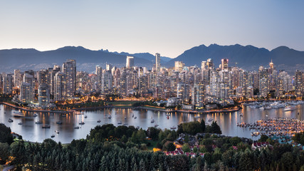 A panoramic view of Vancouver, British Columbia, Canada.