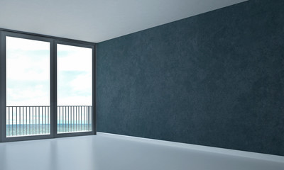 the interior design of texture wall room and sea view