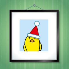 Single Yellow Chick Wearing Santa Hat in Picture Frame
