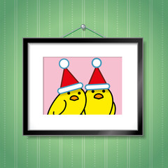 Couple of Yellow Chicks Wearing Santa Hats in Picture Frame