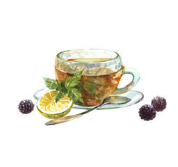 Watercolor realistic green tea cup isolated on a white background illustration.