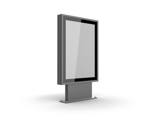 Outdoor advertising light box with white poster mockup. 3D illustration