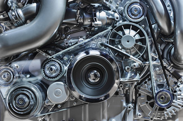 Car engine, concept of modern vehicle motor with metal, chrome, plastic parts, heavy industry