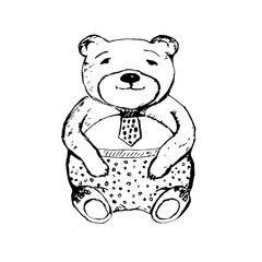 Teddy bear with tie. Hand drawn vector illustration.
