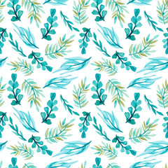Seamless Pattern of Watercolor Bright Blue Leaves
