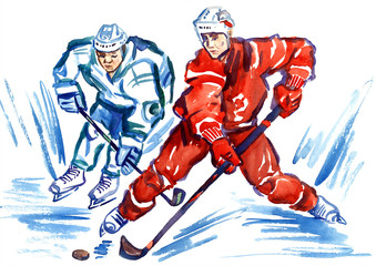 Two sportsmen hockey players fighting for the puck at high speed, hand painted watercolor illustration