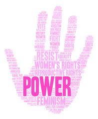 Women's Rights Power Word Cloud on a white background.