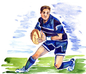 Athlete rugby player running with the ball on the football field of the stadium, hand painted watercolor illustration