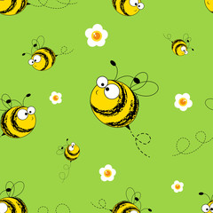 Bees seamless pattern. Vector illustration. Image of flying bees. Funny bees on a green background.