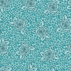 Vintage vector seamless pattern with garden roses on light mint green background. Rose blossoms with leaves and little flowers, hand-drawn sketch background, perfect for romantic events