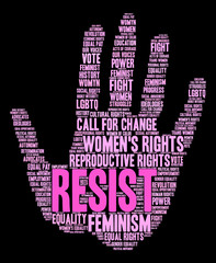 Women's Rights Resist Word Cloud on a black background.