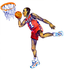 Athlete basketball player jumping with the ball to the basket, hand painted isolated watercolor illustration