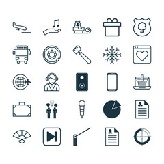 Set Of 25 Universal Editable Icons. Can Be Used For Web, Mobile And App Design. Includes Elements Such As Female Application, Roadblock, Skip Song And More.
