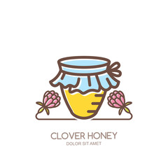 Outline honey pot vector logo, emblem or icon. Linear jar and clover flowers isolated on white background. Concept for organic clover honey package design.