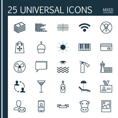 Set Of 25 Universal Editable Icons. Can Be Used For Web, Mobile And App Design. Includes Elements Such As Hooch, Cooperation, Authentication And More.