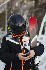 ski boy on phone