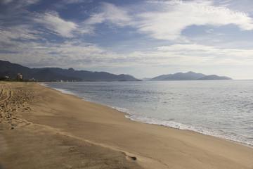 Beautiful view of Caraguatatuba beach, north coast of the state