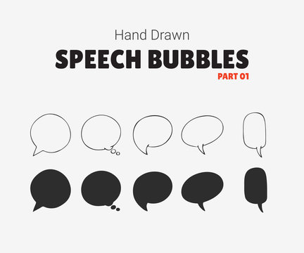 Set of vector speech bubbles with text, group of doodle speech bubles on white background