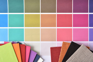 Color samples with materials for interior decoration top view
