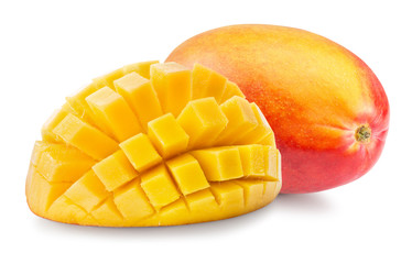 mango with cube slices isolated on a white background