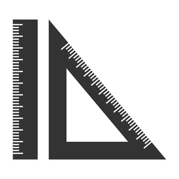 silhouette ruler and setsquare. Geometry.