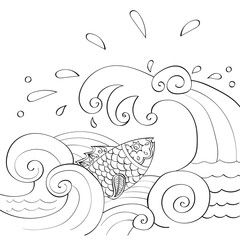Fish in the sea waves. Fish in mehndi style, indian pattern.  Pa