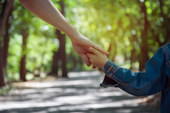 mother holding a child's hand, close-up hands, nature in backgr