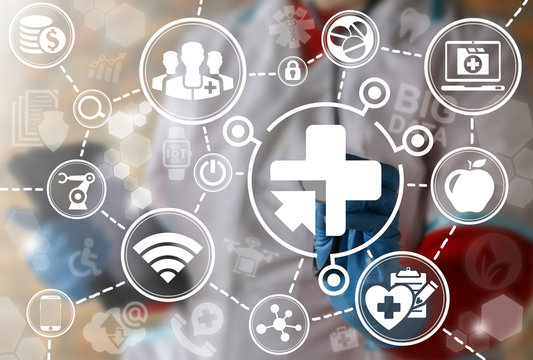 Medicine integration IoT automation computer health care web concept. Healthy big data ai computing modernization medical engineering internet of thing information technology. Medical cross arrow icon