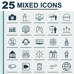 Set Of 25 Universal Editable Icons. Can Be Used For Web, Mobile And App Design. Includes Elements Such As Solution Demonstration, Money, Champagne Glasses And More.