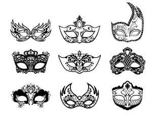 Set of mardi gras masks isolated on white background. Vector illustration.