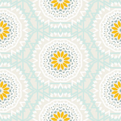 Bohemian pattern with big abstract flowers