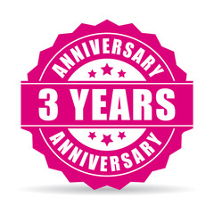 Three years anniversary vector icon