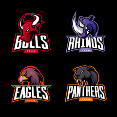 Furious rhino, bull, eagle and panther sport vector logo concept set isolated on dark background. Premium quality wild animal and bird t-shirt tee print illustration.