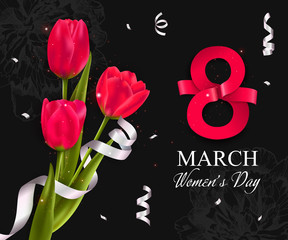 Womens day background with red tulips. 8 march vector illustration.