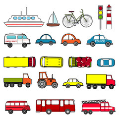 Cars and vehicles transport vector set.
