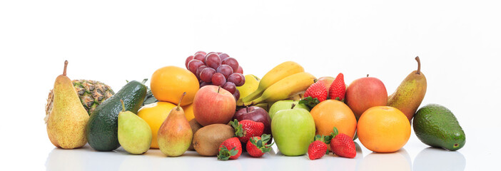 Variety of fruits on white background
