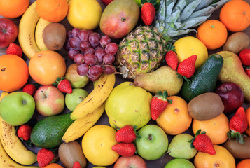 Variety of fruits background